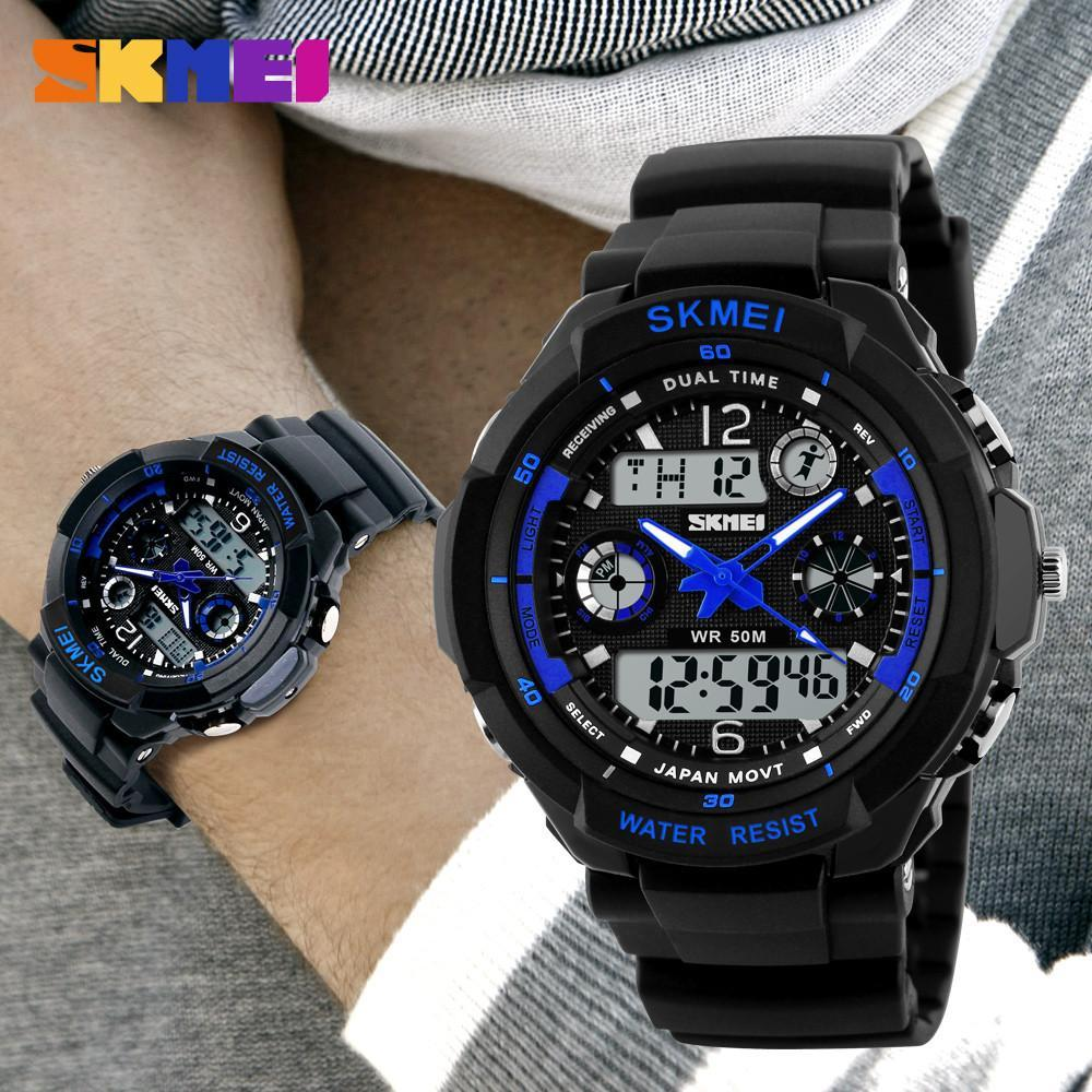 men waterproof dual s itm digital ebay time mens sports watch sport watches wrist analog skmei