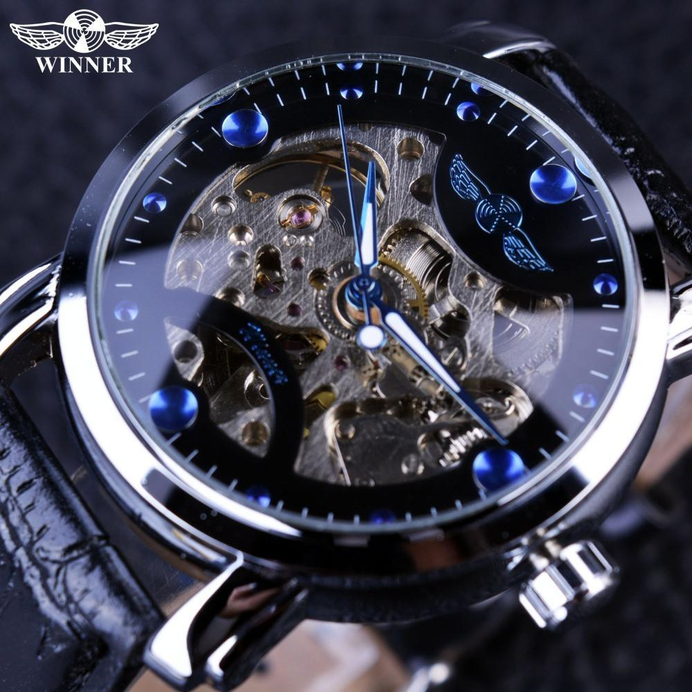 watches description black gold heren case men skeleton horloge luxury brand mechanical engraving logo forsining hollow leather product design