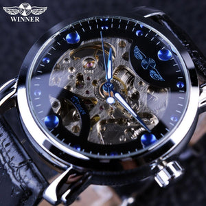 WINNER Black Skeleton Designer Blue Engraving Leather Strap Mens Watches