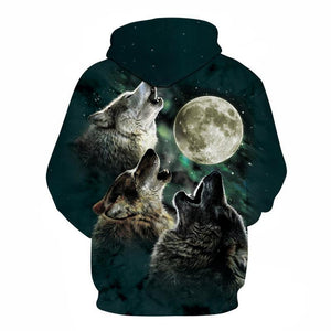 Wolf and moon Printed Hoodie