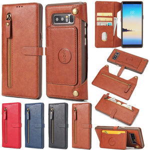 Multifunction Zipper Real Leather Case For Samsung