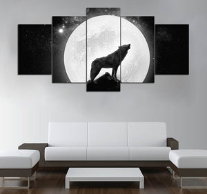 5-piece Wolf under the Moonlight printed Canvas Wall Art