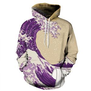Purple Weed Leaf Print Sweatshirt