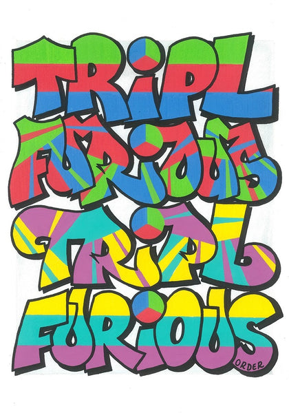 7 COLOR RISO PRINT BY GRAFFITI WRITER TRIPL: STROBOSCOPIC ARTIFACTS