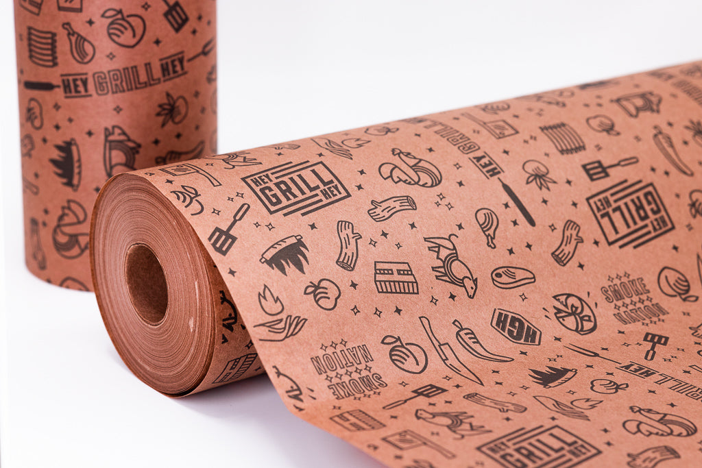 "Hey Grill, Hey Branded 18"" x 150' Peach/Pink Butcher Paper"