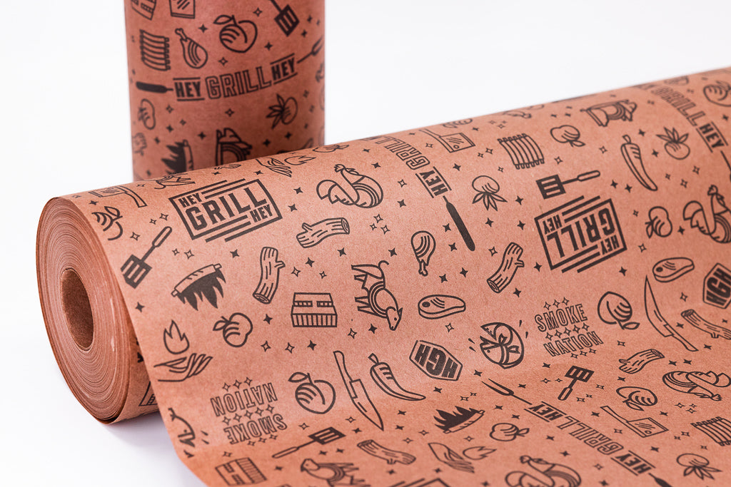 "Hey Grill, Hey Branded 24"" x 150' Peach/Pink Butcher Paper"
