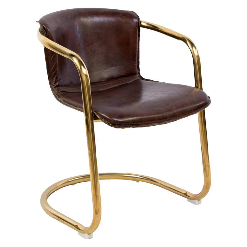 Allure Brass Desk Chair with Leather Cushion