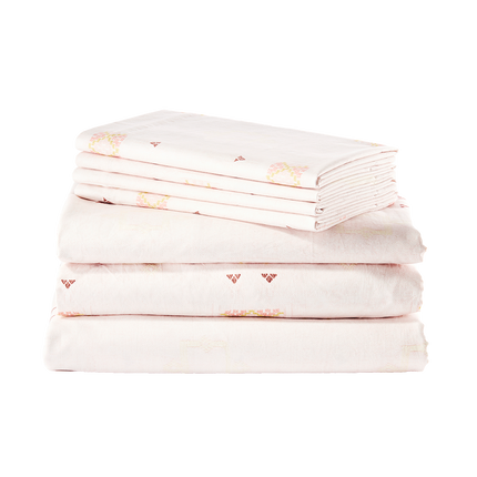 Blush Cactus Silk Sheet Set