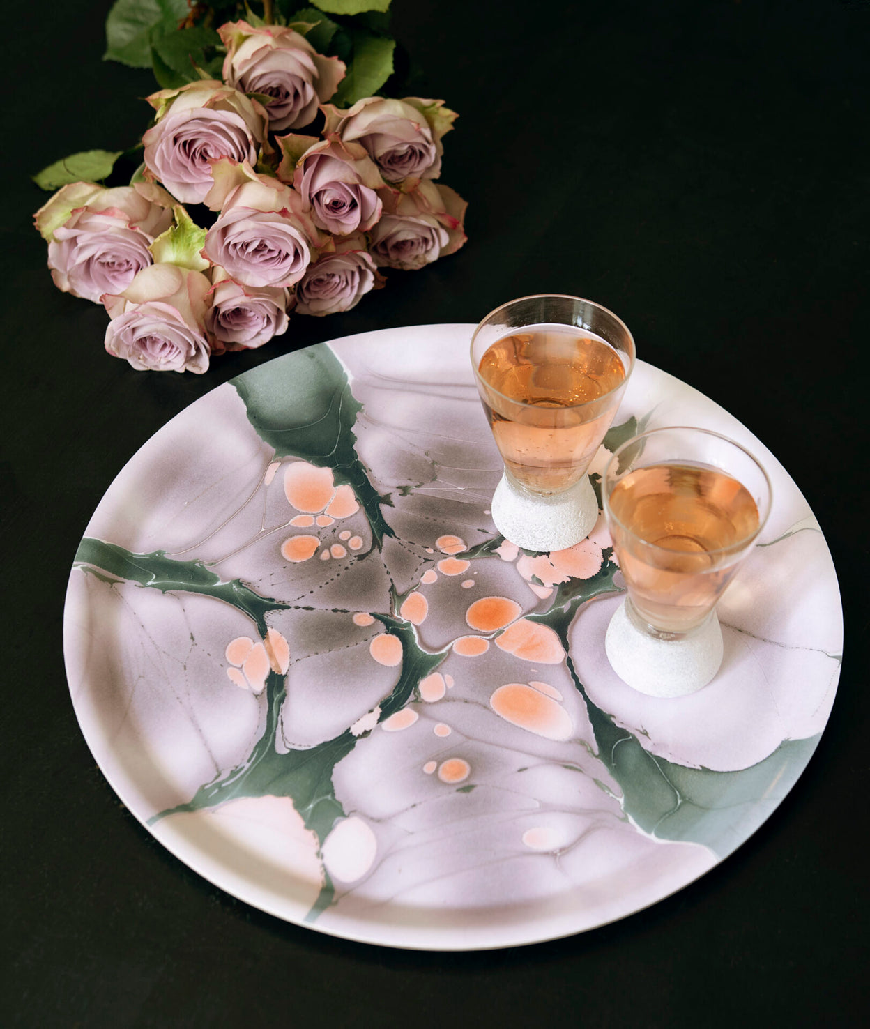 Marbleized Round Tray in Dusk + Dawn