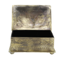 Medium Rectangular Stamped Silver Box with Multicolored Stones