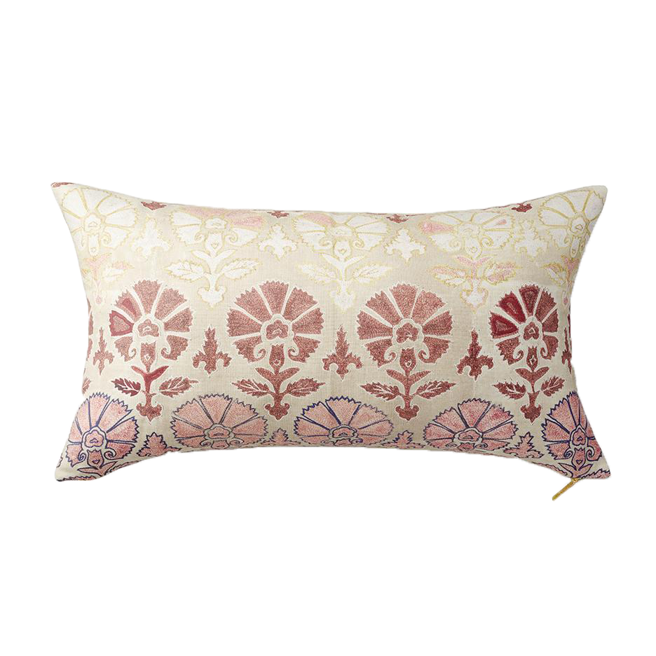 St. Frank Silk Blush Suzani Lumbar Pillow