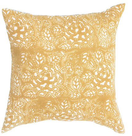 Sicily Mustard on White Block Print Pillow