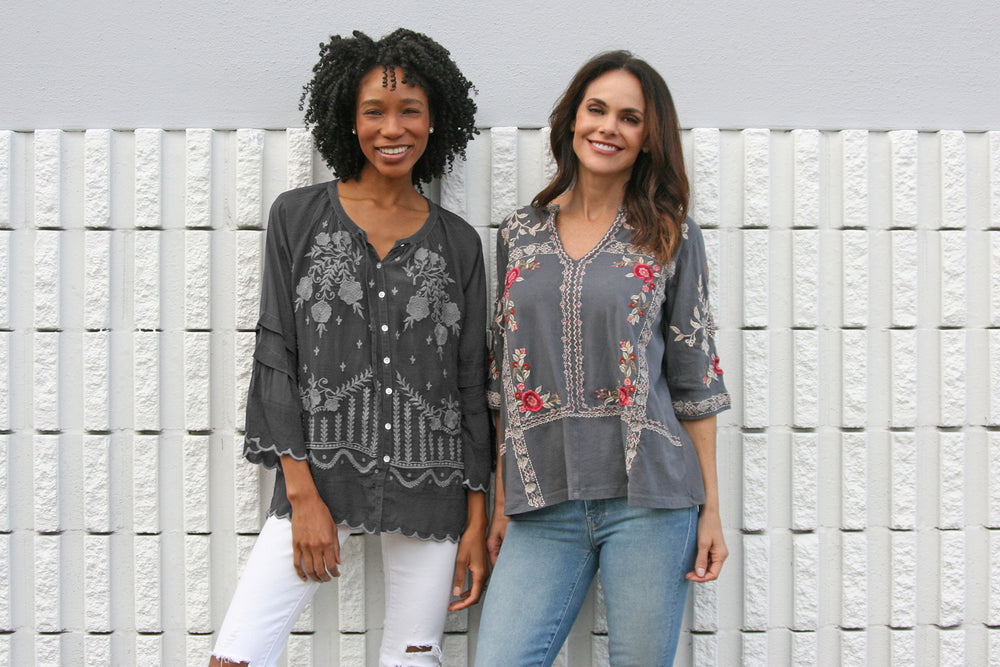 Two women smiling in grey boho-chic Caite and Kyla Seo fall styles