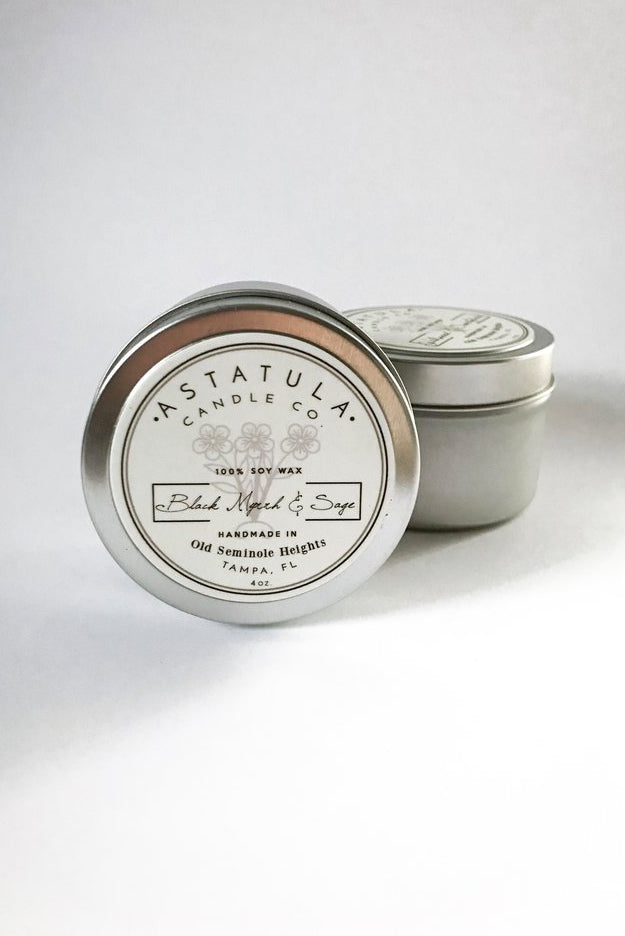 Black Myrrh & Sage Candle | 4oz Tin