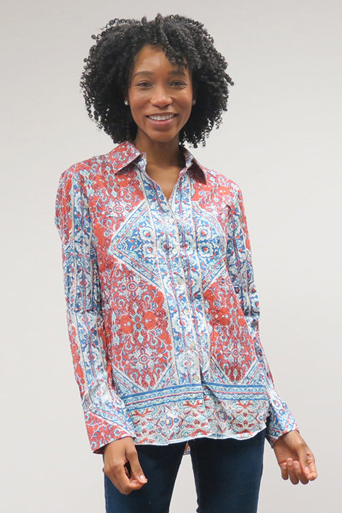 Love Kyla Crinkled Cotton Button-Down