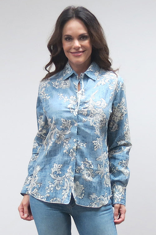 Love Kyla Crinkled Cotton Button-Down (Fall)