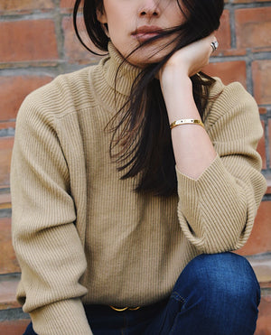Vintage Camel Ribbed Turtleneck Sweater