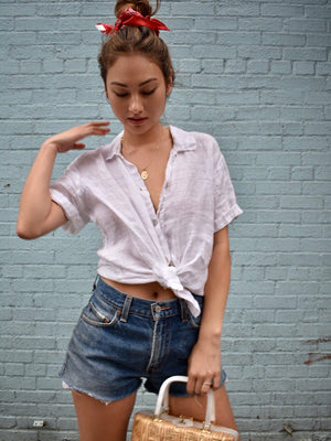 Vintage Linen Short Sleeve Buttondown Shirt