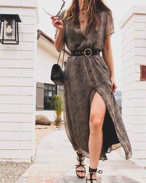 Vintage Silk Chiffon Shirt Dress