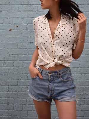 Silk Polka Dot Buttondown