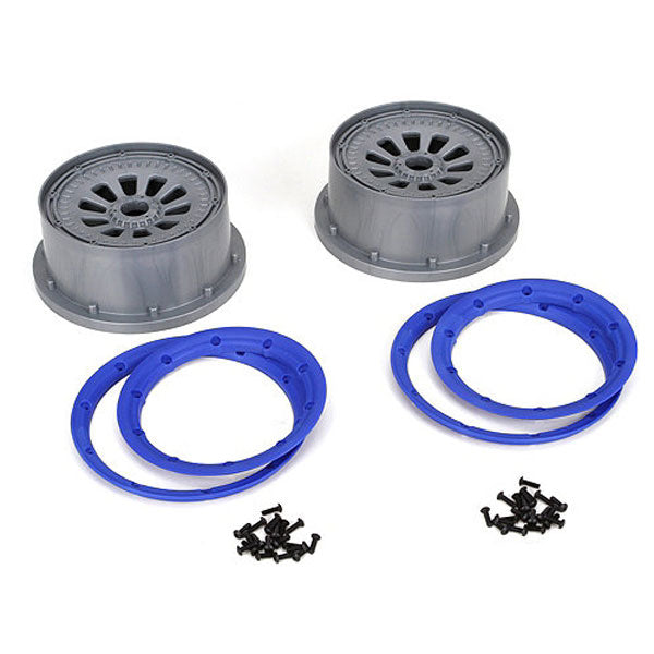 Losi 5IVE-T Wheel Set w/Beadlocks (2) (Grey/Blue) 5IVE-T