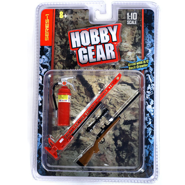 Hobby Gear Phoenix Toys 1/10 RC Rock Crawler Accessory Fire Extinguisher, High Lift Jack & Riffle Gun