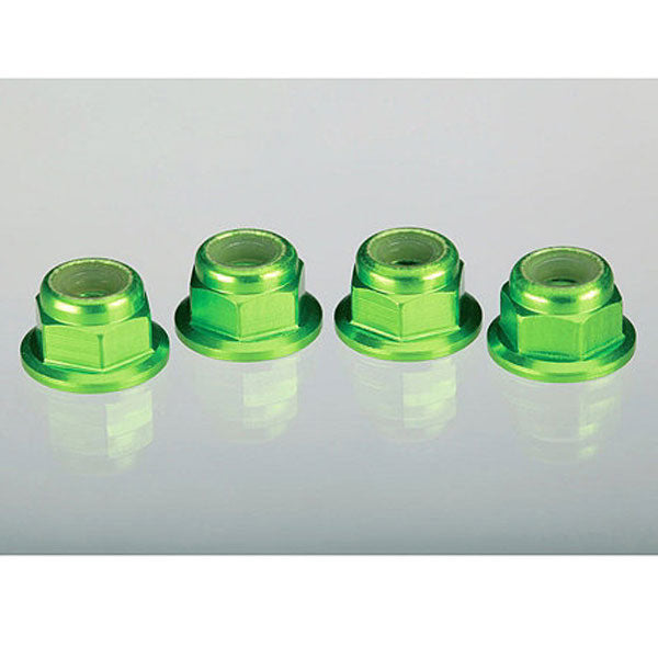 Traxxas 4mm Aluminum Flanged Serrated Nuts (Green)