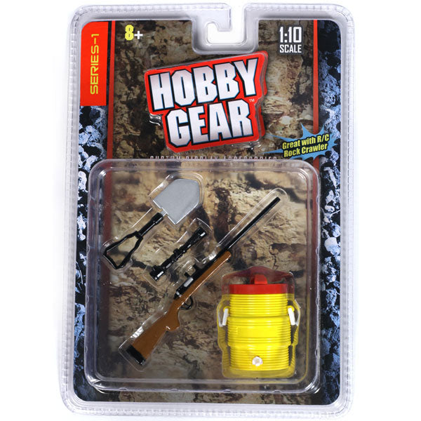 Hobby Gear Phoenix Toys 1/10 RC Rock Crawler Accessory Camping Shovel, Riffle Gun & Portable Cooler