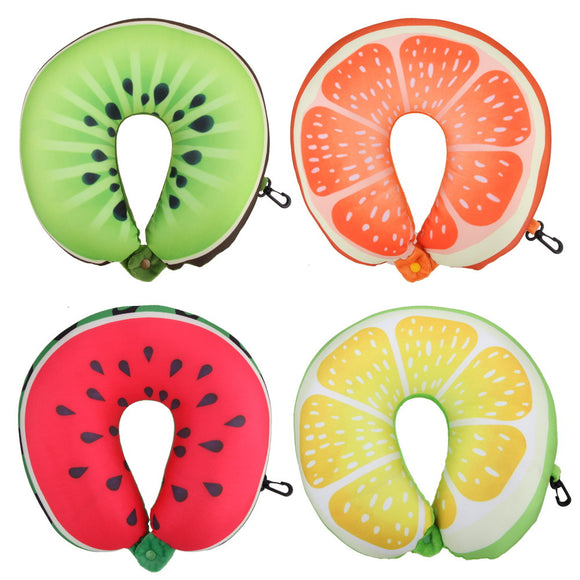 Fruit U Shaped Pillow with Nanoparticles, Travel 3D Fruit Massage Pillow
