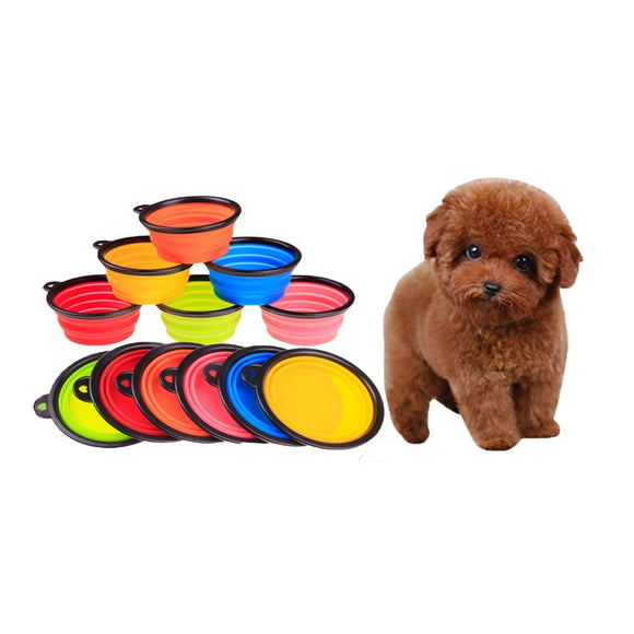 Portable Folding Dog Bowl, with Black Border, 6 Colors