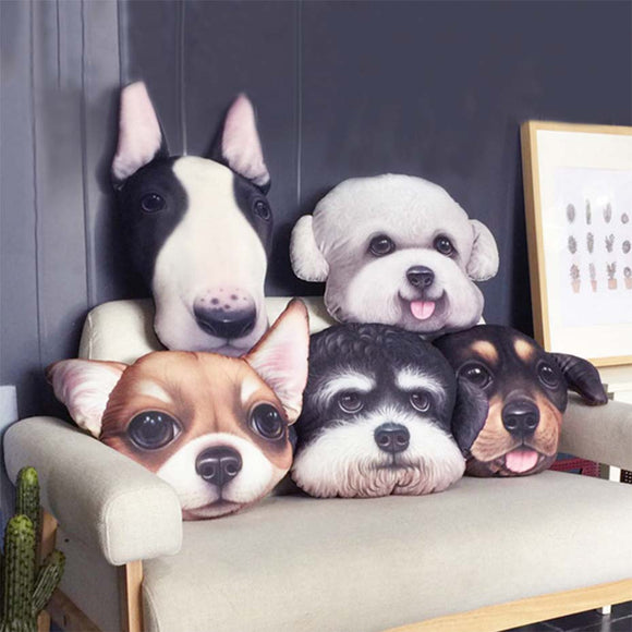 Cute Dog Pillow with Chihuahua, Bull, Terrier, Schnauzer & Sausage