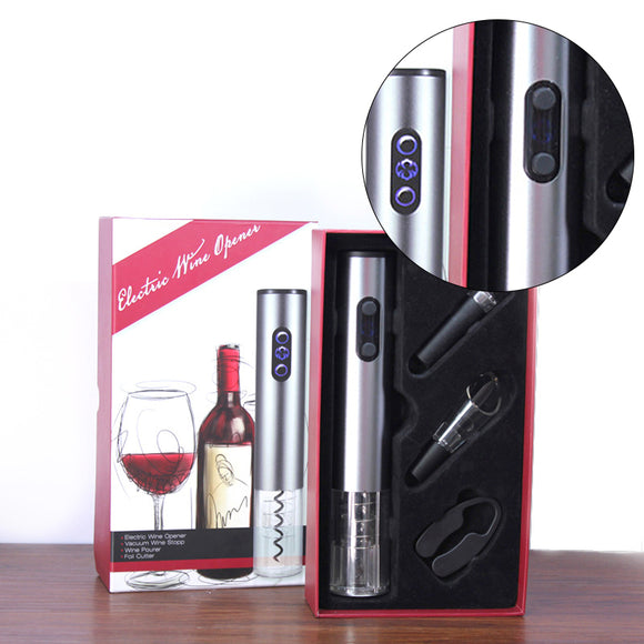 4pcs Wine Set in a Gift Box (Electric Wine Opener Set, Vacuum Plug, Wine Pourer & Foil Cutter)
