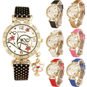 Orchid Pattern Leather, Diamond Quartz Watch