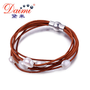 DAIMI 9-10mm White Natural Baroque Pearl Bracelet 7 Layers Leather Bracelet Wholesale Price Magnet Clasp - Zamavi.com