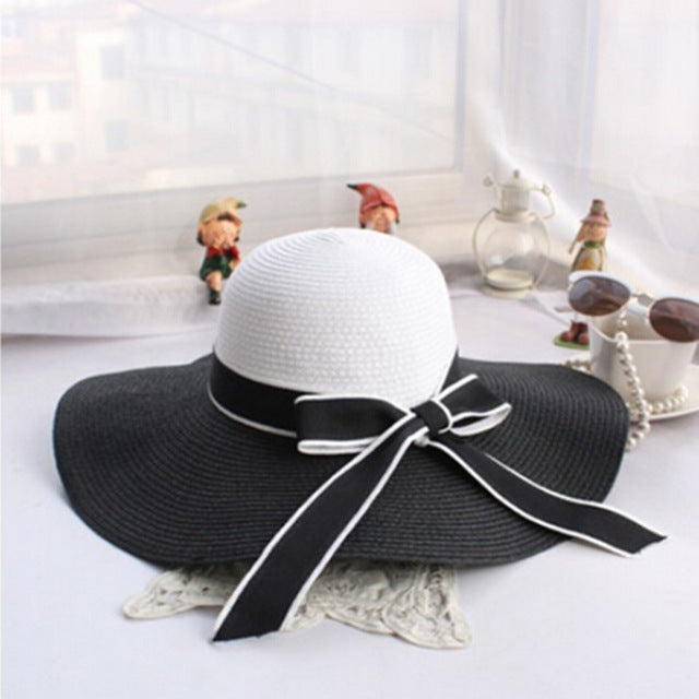 Hot Sale Fashion Hepburn Wind Black White Striped Bowknot Summer Sun Hat Beautiful Women Straw Beach Hat Large Brimmed Hat - Zamavi.com