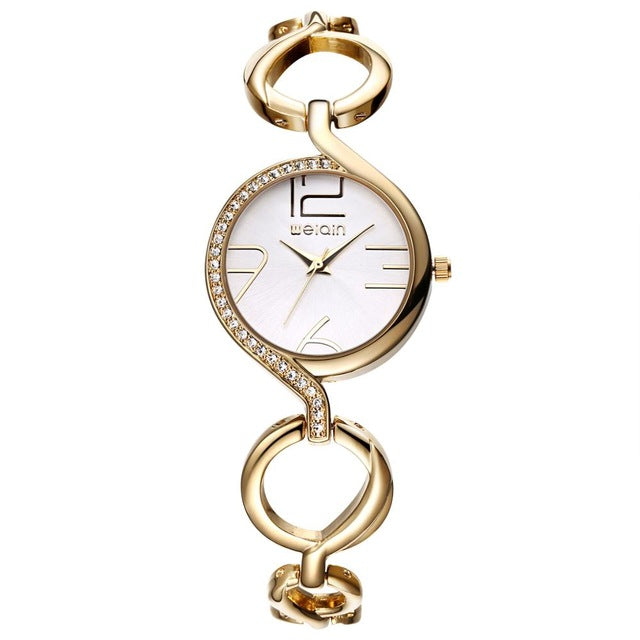 WEIQIN Brand Luxury Crystal Gold Watches Women Fashion Bracelet Watch Quartz Shock Waterproof Relogio Feminino orologio donna - Zamavi.com