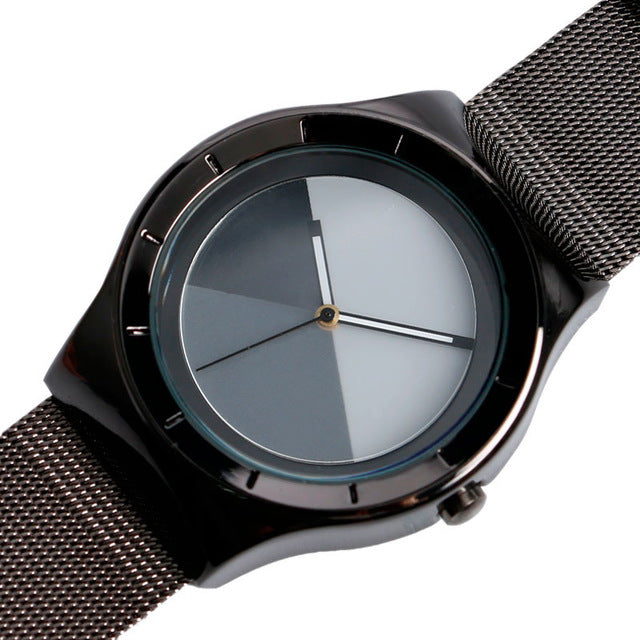 Cool Fashion Casual Modern Watch Men Sport WristWatch Student Korea Quartz-watch Splice Color Dial Web Mesh Stainless Steel Band - Zamavi.com