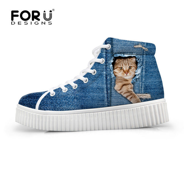 FORUDESIGNS Fashion Women Casual High Top Shoes Cute 3D Animal Pet Dog Pug Printed Platform Shoes Ladies Boots Lace-up Flats - Zamavi.com