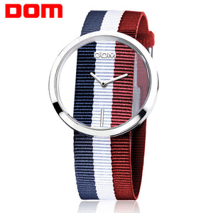 Watch Women DOM Brand  Luxury Fashion Casual Quartz Unique Stylish Hollow Skeleton Watches Nylon Sport Lady Wristwatches  LP-205 - Zamavi.com