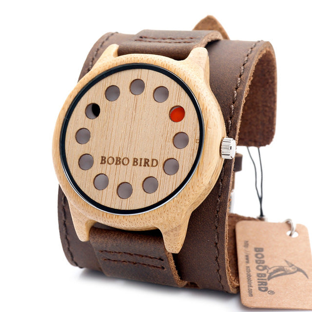BOBO BIRD 12 Holes Design Bamboo Wooden Watch Mens Quartz Analog Watches with Genuine Leather Band as Gift montre homme 2017 - Zamavi.com