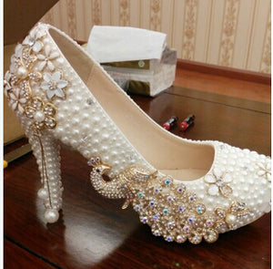 Crystal wedding shoes pearl handmade bridal shoes women's Pumps peacock rhinestone female high heels platform shoes big size - Zamavi.com