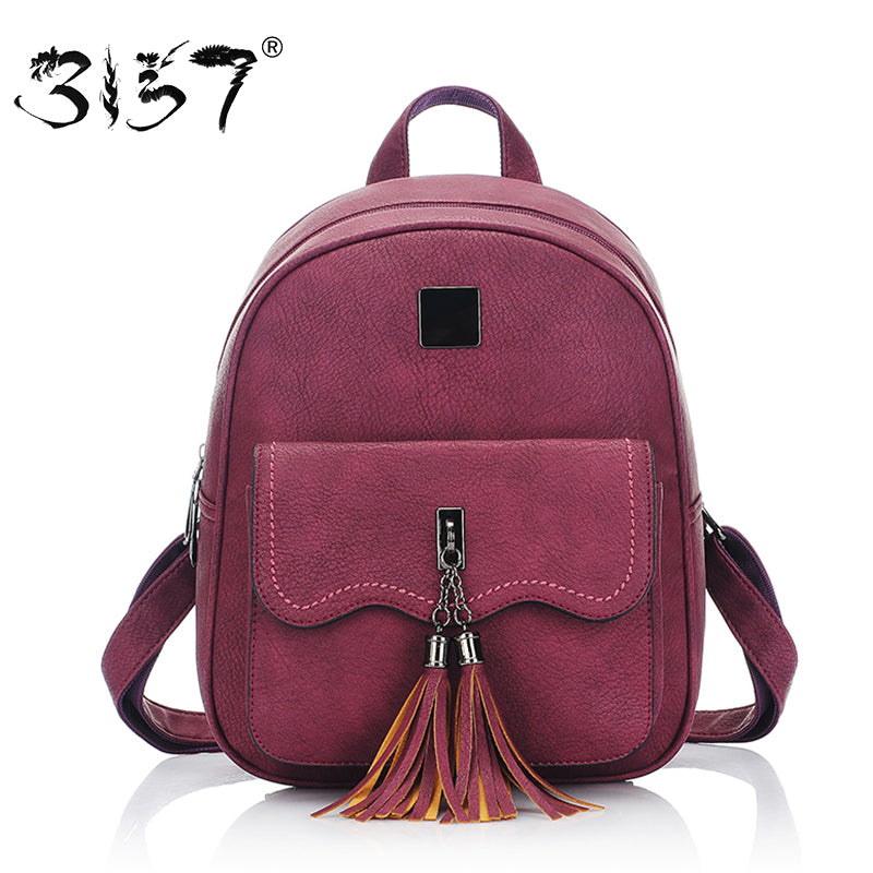 tassel women leather backpack teenage backpacks for girls vintage feminine backpack 3157 sac a dos femme - Zamavi.com