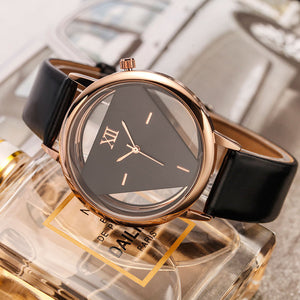 GEEKTHINK Hollow Quartz Watch Women Luxury Brand Gold Ladies Casual Dress Leather Strap Clock Female Girls Trending - Zamavi.com