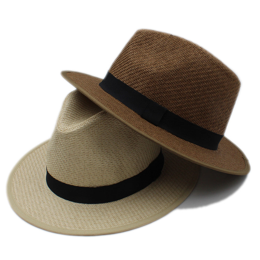 Summer Women Men Wide Brim Toquilla Straw Panama Sun Hat For Elegant Lady Gentleman Gangster Trilby Fedora Beach Dad Cap - Zamavi.com