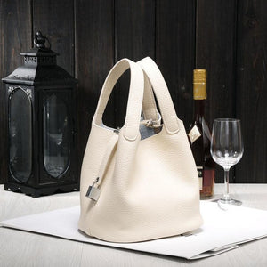 Genuine Leather Bucket Bag Women Mini Shoulder Bags Europe Style tote bag Candy Color Handbag For Women Fmaous Brands - Zamavi.com