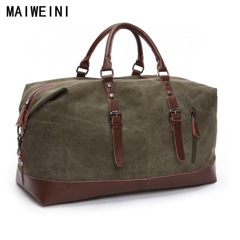 Fashion Canvas Leather Men Travel Bag Large Capacity Men Hand Luggage Travel Duffle Bags Weekend Bags Multifunctional Tote Bag - Zamavi.com