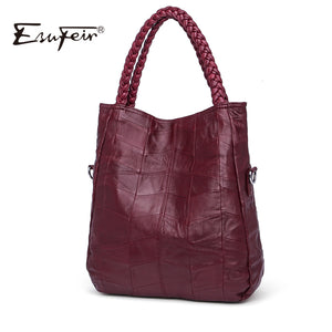 ESUFEIR Brand Genuine Leather Luxury Women Handbag Designer Patchwork Sheepskin Women Bag Fashion Shoulder Bag Casual Tote Bag - Zamavi.com