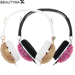 Crystal Headphones for girl diamond Anti-noise for Music Earphones for iphone 6s PC headset For samsung s8 for huawei p9 lite - Zamavi.com