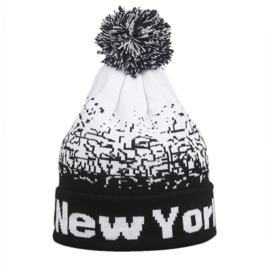 "Fashion Unisex Men Women ""NewYork"" Letter Baggy Warm Winter Wool Knit   Beanies Female Male Skull Slouchy Knitted Caps Hat Men - Zamavi.com"