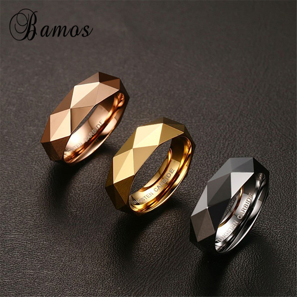 Korean Style Silver/Gold /Rose Gold Color Tungsten Steel Men Ring Wedding Party Finger Rings For Male Cool Jewelry RING-0079 - Zamavi.com